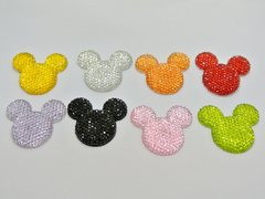 20 Mixed Color Flatback Resin Dotted Rhinestone Mickey Mouse Face Cabochon 30mm