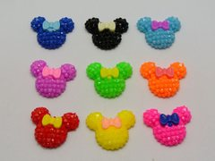 50 Mixed Color Flatback Resin Mickey Mouse Face with Bows Dotted Rhinestone Cabochon 20X18mm