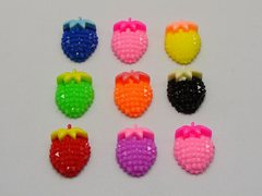 50 Mixed Color Flatback Resin Strawberry with Bows Dotted Rhinestone Cabochon 20X15mm