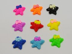 50 Mixed Color Flatback Resin Starfish with Bows Dotted Rhinestone Cabochon 20X18mm