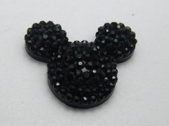 20 Black Flatback Resin Dotted Rhinestone Mickey Mouse Face Cabochon 24X20mm