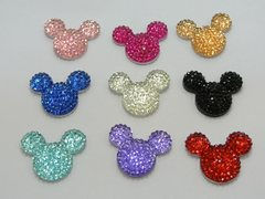 20 Mixed Color Flatback Resin Dotted Rhinestone Mickey Mouse Face Cabochon 24X20mm