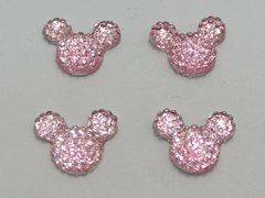 50 Pink Flatback Resin Dotted Rhinestone Mickey Mouse Face Cabochon 14X12mm