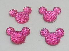 50 Bright Pink Flatback Resin Dotted Rhinestone Mickey Mouse Face Cabochon 14X12mm