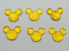 50 Yellow Flatback Resin Dotted Rhinestone Mickey Mouse Face Cabochon 14X12mm