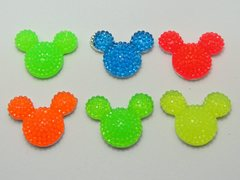 20 Mixed Neon Color Flatback Resin Dotted Rhinestone Mickey Mouse Face Cabochon 23X18mm