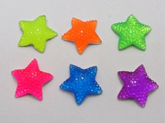 50 Mixed Neon Color Flatback Resin Cabochon Dotted Star Rhinestone Gems 15X15mm