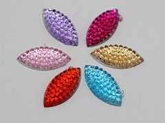200 Mixed Color Flatback Acrylic Dotted Horse Eye Rhinestone Cabochon Gems 7X14mm