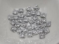 500 Silver Acrylic Square Flatback Dotted Rhinestone Cabochons 6X6mm