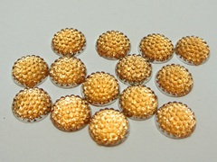 100 Champagne Flatback Acrylic Dotted Round Rhinestone Gem Cabochon Dome 12mm
