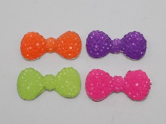 50 Mixed Neon Color Flatback Resin Cabochon Dotted Rhinestone Bowknot Bow Tie 22X12mm