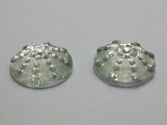 50 Clear Flatback Resin Round Dotted Cabochon Rhinestone Gem 18mm