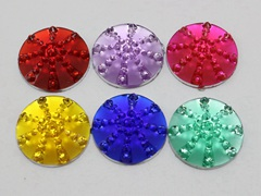 50 Mixed Colour Flatback Resin Round Dotted Cabochon Rhinestone Gem 18mm