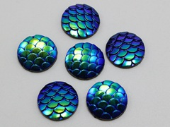 100 Deep Blue AB Flatback Resin Fish Scale Pattern Round Cabochon 12mm