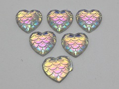 100 Clear AB Flatback Resin Fish Scale Pattern Heart Cabochon 12mm
