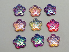 100 Mixed Colour AB Flatback Resin Fish Scale Pattern Flower Cabochon 12mm