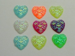 100 Mixed Colour Flatback Resin Heart Cabochon Dotted Wave Rhinestone Gem 12mm