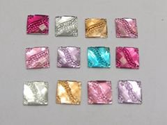 200 Mixed Color Acrylic Flatback Square with Dotted Wave Rhinestone Gems 10X10mm