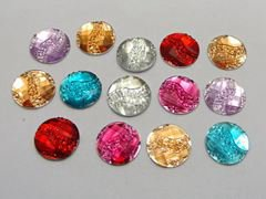 200 Mixed Color Acrylic Flatback Round with Dotted Wave Rhinestone Gems 12mm