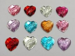 200 Mixed Color Acrylic Flatback Heart with Dotted Wave Rhinestone Gems 12mm