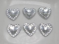 200 Clear Acrylic Flatback Heart Rhinestone Gems 10X10mm Rivoli Center