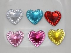 200 Mixed Color Acrylic Flatback Heart Rhinestone Gems 10X10mm Rivoli Center