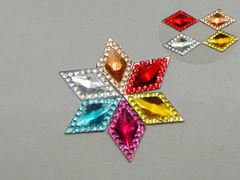 200 Mixed Color Acrylic Flatback Rhombus Rhinestone Gems 16X10mm Rivoli Center