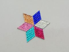 200 Mixed Color Acrylic Flatback Dotted Rhombus Rhinestone Gem 16X10mm