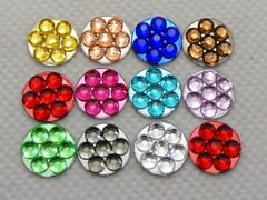 500 Mixed Color Acrylic Flatback Round Rhinestone Gems 10mm Dotted Flower