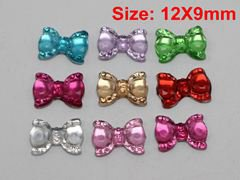 200 Mixed Color Flatback Bowknot Bows Rhinestone Gems 12X9mm Embellishments