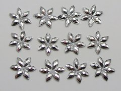 200 Silver Flatback Acrylic Flatback Faceted Star Flower Rhinestone Gems 12mm