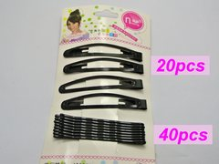 60 Assorted Black Metal Snap Hair Clips & Bobby Hair Pin Clips