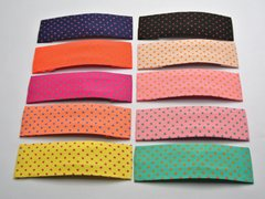 10 Mixed Color Dots Fabric Square Snap Hair Clips Big Baby Bows 80mm