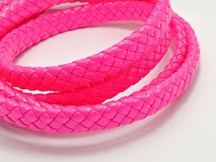 16.4 Feets Neon Hot-pink Flat Braided Bolo Leatherette Cord 10X4mm