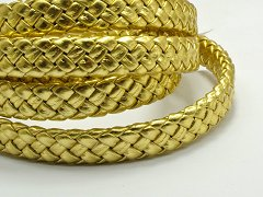 16.4 Feets Gold Flat Braided Bolo Leatherette Cord 10X4mm