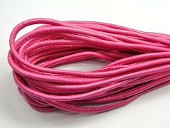 32.8 Feet Hot-pink Stitched Round Soft Synthetic Leather String Jewelry Cord 5mm