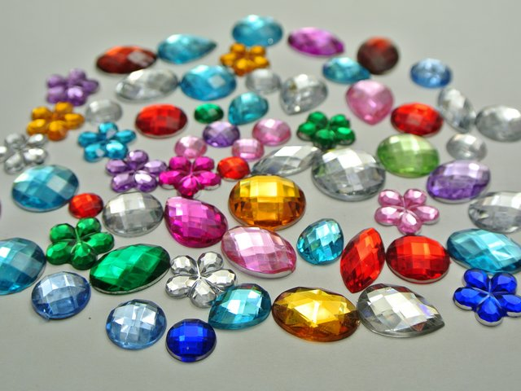 200 Mixed Color Flatback Acrylic Rhinestone Gems Assorted Shape No Hole