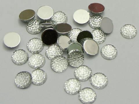 200 Clear Flatback Acrylic Dotted Round Rhinestone Gem Cabochon Dome 10mm