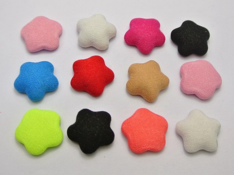 50 Mixed Color Flatback Fabric Covered Buttons Star 16mm Cabochon for Craft DIY