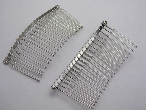 50 silver tone metal hair side combs clips 76x37mm for diy for Metal hair combs for crafts