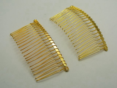 10 golden metal hair side combs clips 76x37mm for diy for Metal hair combs for crafts