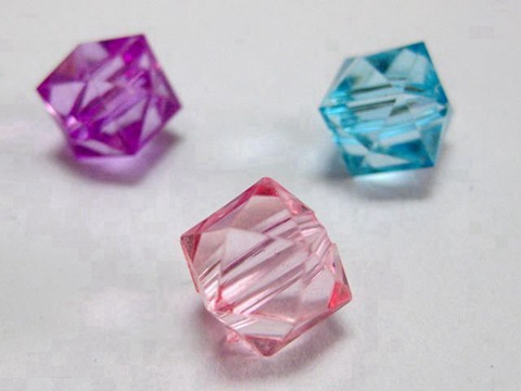 200 Mixed Colour Transparent Acrylic Faceted Bicone Beads 10X10mm Spacer