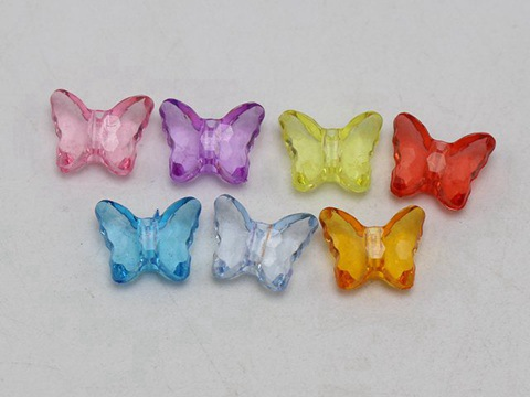 50 Mixed Colour Transparent Acrylic Butterfly Bow Tie Charm Beads 15X11mm