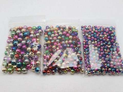 Craft DIY Shiny Metallic Color Acrylic Christmas Smooth Round Beads 12mm-20mm