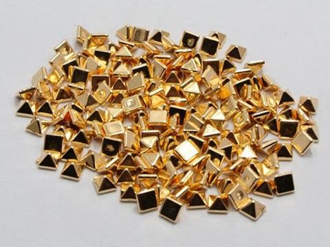 200 Gold Tone Metallic Acrylic Rock Punk Pyramid Spike Tiny Studs 4X4mm No Hole