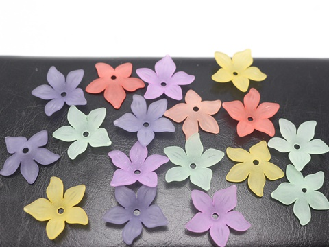 100 Mixed Color Frosted Acrylic 5-Petal Blossom Flower Beads Cap 22mm Jewelry