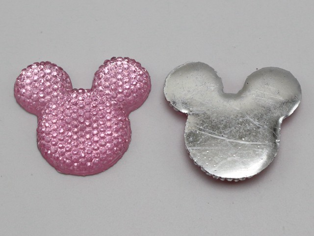 20 Flatback Resin Dotted Rhinestone Gems Mouse Face Gems 24X20mm Colour Choice