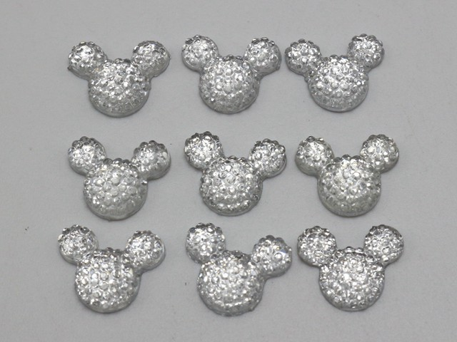 100 Silver Flatback Resin Dotted Rhinestone Gems Mouse Head 14X12mm