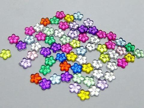 1000 Pink Acrylic FlatBack Mini Flower 4mm Rhinestones Gems Nail Art Tips