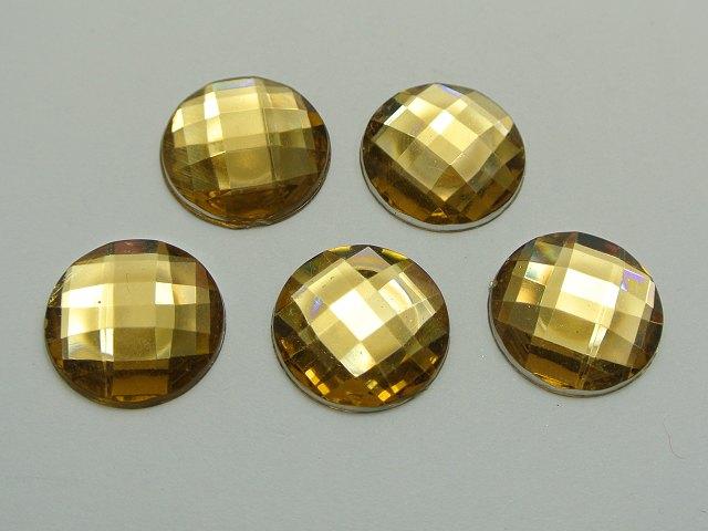 50 Gold Acrylic Flatback Rhinestone Round Gem Beads 20mm No Hole